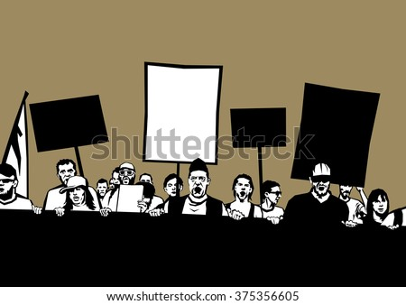 Uprising, revolt, strike, demonstration. Crowd of shouting demonstrators and protesters with banners and billboards on the protest. Banners are empty - free copy space for your own text. - stock photo