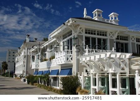 Upscale beachfront hotel in Santa Monica, California - stock photo