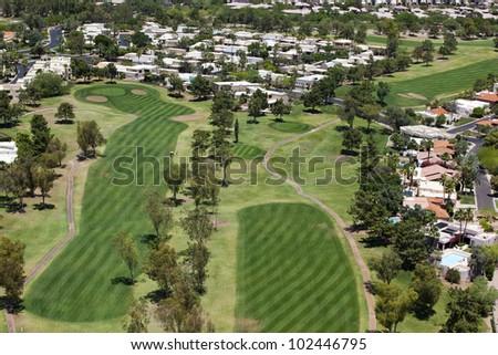 Upscale desert golf course community in Phoenix, Arizona - stock photo