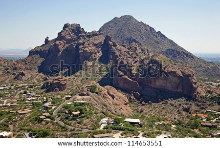 Upscale homes and luxury living on Camelback Mountain - stock photo