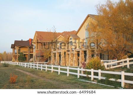 Upscale homes in nice neighborhood - stock photo