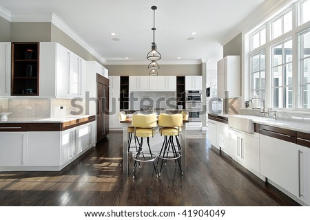 Upscale kitchen in luxury home - stock photo