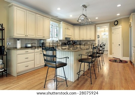 Upscale kitchen in new construction home - stock photo