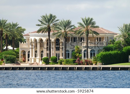 Upscale real estate in tropical Florida - stock photo