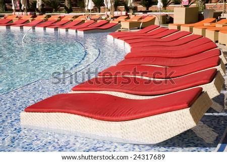 Upscale resort pool - stock photo