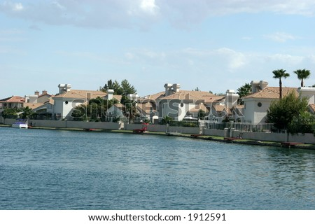 Upscale waterfront houses - stock photo