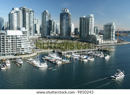 Upscale waterfront neighborhood in downtown Vancouver - stock photo