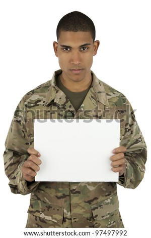 Upset African American Service holding blank sign