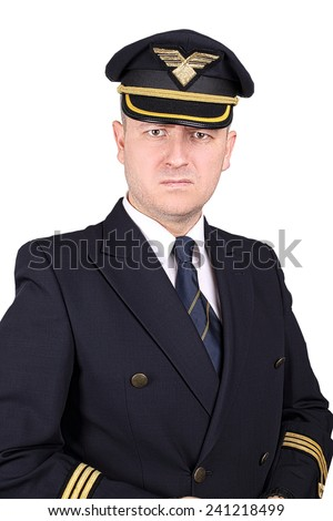 Upset and angry captain on a white background - stock photo