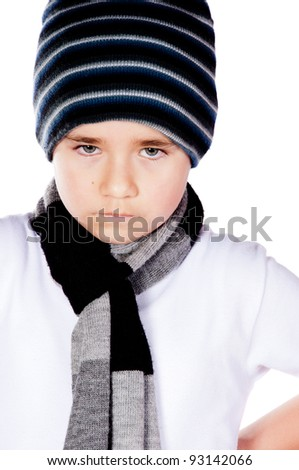 Upset boy portrait - isolated over a white background