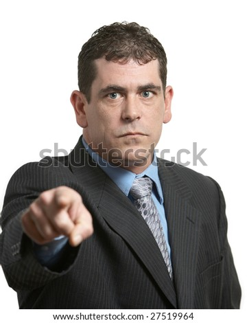 Upset businessman pointing on white background focus on face - stock photo