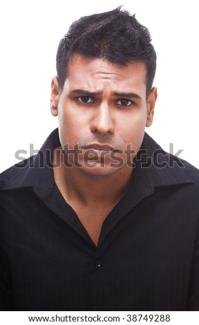 Upset businessman with a deep frown looking very disappointed. - stock photo