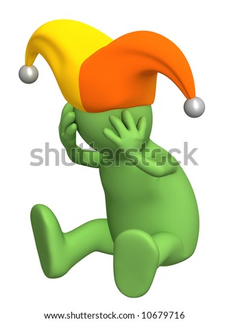 Upset 3d puppet - harlequin, keeping for a head. Objects over white - stock photo