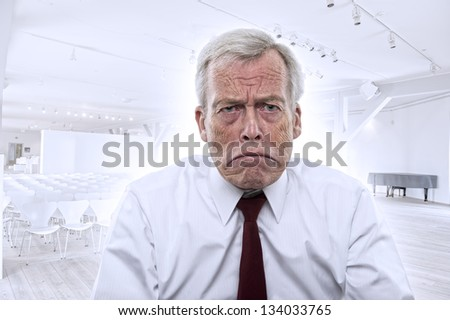 Upset depressed Caucasian businessman with huge frown and mouth curved down at corners, portrait - stock photo