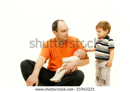 upset father with two children over white - stock photo