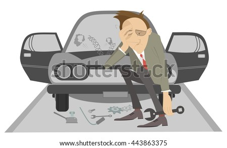 Upset man with wrench seats on bumper of the broken the car - stock photo