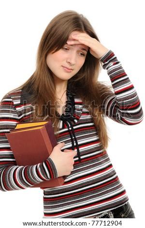 upset woman isolated  on white background - stock photo