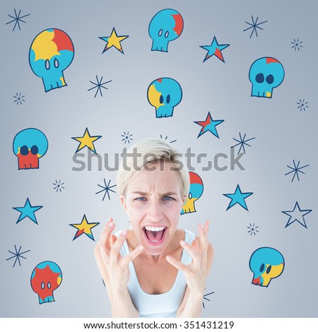 Upset woman yelling with hands up against grey vignette - stock photo