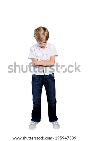 upset young boy on white background - stock photo