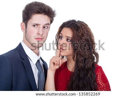 upset young couple with white background - stock photo