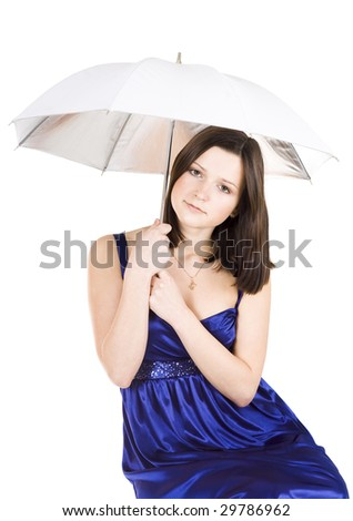 Upset young pretty woman holding umbrella in blue dress