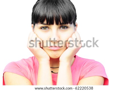 Upset young woman isolated - stock photo