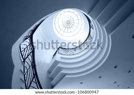 Upside view of spiral stairway case