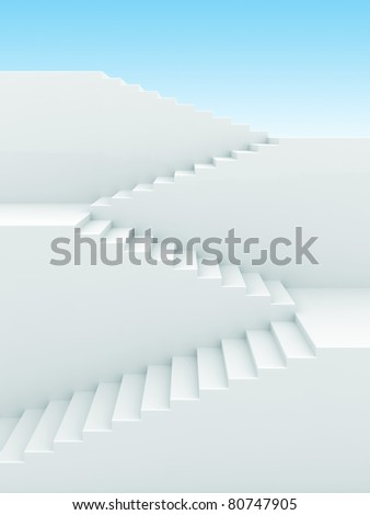Upstairs growth. Success 3d concept background - stock photo
