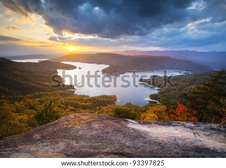 Upstate South Carolina Fall Foliage Lake Jocassee Scenic Autumn Sunset landscape