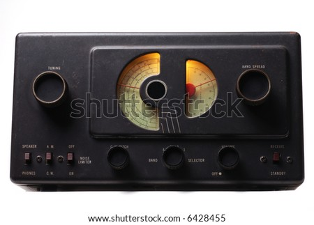 Upward angle shot of a 1950's era shortwave radio - stock photo