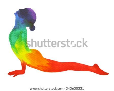 Upward Facing Dog Yoga Pose, Urdhva Mukha Svanasana, yoga position, watercolor painting, hand drawing, illustration design, chakra color power - stock photo