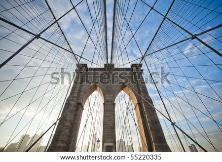 Upward image of Brooklyn Bridge in New York - stock photo