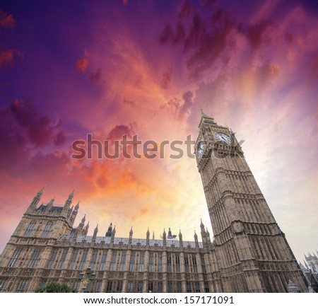 Upward view of Magnificent Big Ben Tower. Beautiful sunset in London. - stock photo