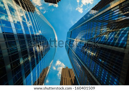 Upward view of modern skyscrapers in downtown Chicago. - stock photo
