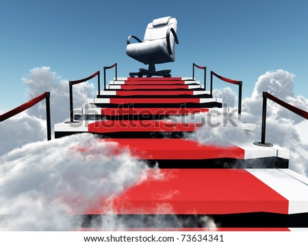 upwards stairs and modern armchair in the end of a way in environment of clouds and sky - stock photo