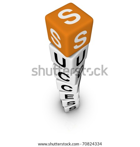 upwards success (3D crossword orange series) - stock photo