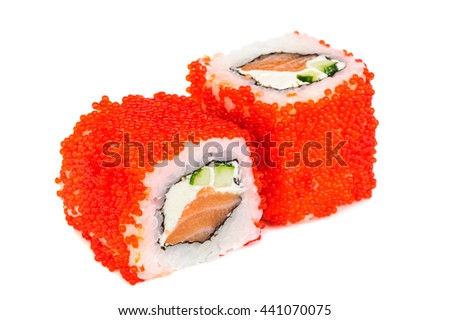 Uramaki maki sushi, two rolls isolated on white. Red tobiko, philadelphia cheese, avocado, salmon and nori