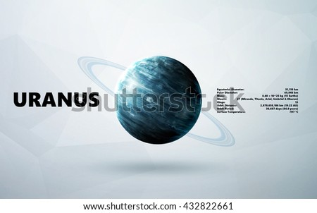 Uranus. Minimalistic style set of planets in the solar system. Elements of this image furnished by NASA - stock photo
