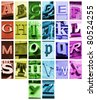 Urban ABC - alphabet collage. Colorful letters font from urban buildings. - stock photo