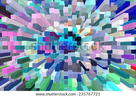 Urban abstract with high angle view: Skyscrapers in a variety of colors, for concepts of multiplicity and metropolitan concentration - stock photo