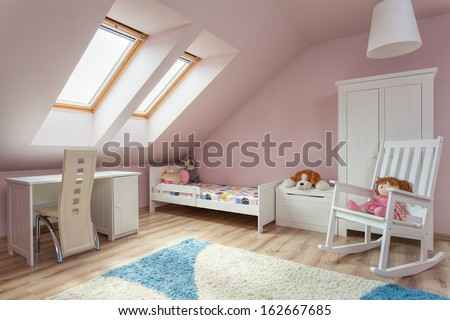 Urban apartment - cute girl's room with white furniture - stock photo