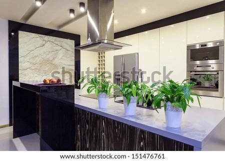 Urban apartment - Travertine wall in a kitchen - stock photo