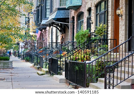 Urban Autumn Autumn on a residential street in the city of Chicago. - stock photo