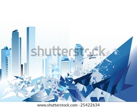 Urban Background. Raster version of vector illustration. - stock photo