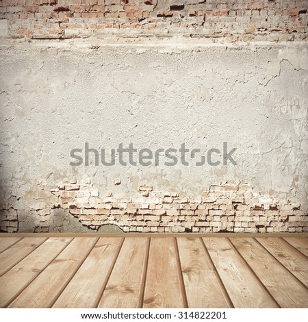 urban background, red brick wall texture bright plastered wall and wooden floor  abandoned interior grunge background for your concept or project - stock photo