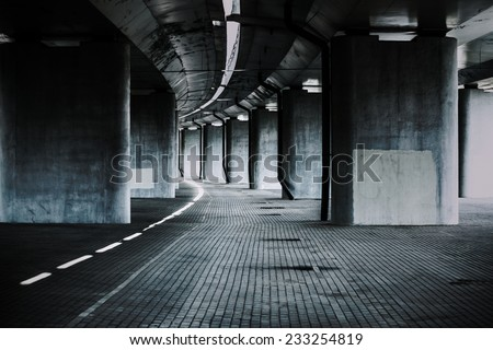 Urban background with big road bridge. Dark contrast colors. - stock photo