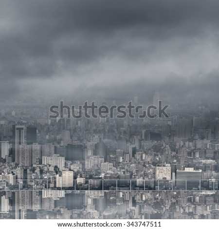 Urban background with copyspace on sky and nobody. - stock photo