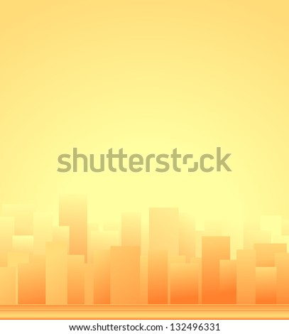 urban background with modern city, skyscraper and sunrise - stock photo