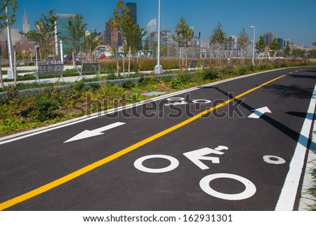 Urban bike lane in a New York City park - stock photo