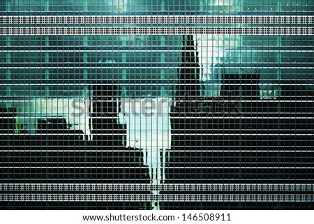 Urban Building Wall Texture With City and Sky Reflections - stock photo